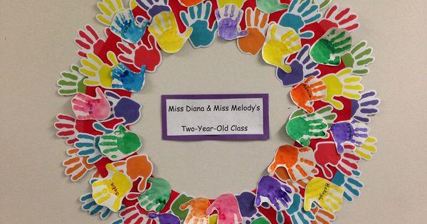 Kindergarten Classroom Wall Decorations ~ Preschool handprint friendship wreath first days of