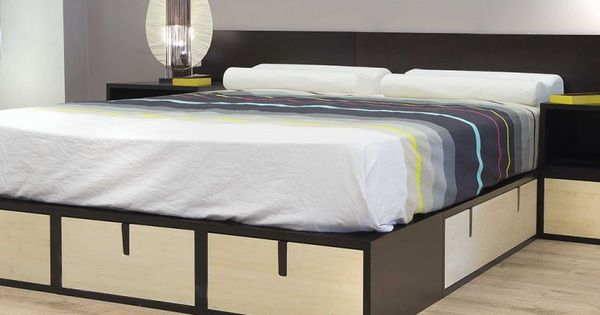 lit podium avec tiroirs de rangement int gr s brick. Black Bedroom Furniture Sets. Home Design Ideas