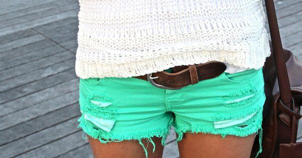 teal shorts ♥