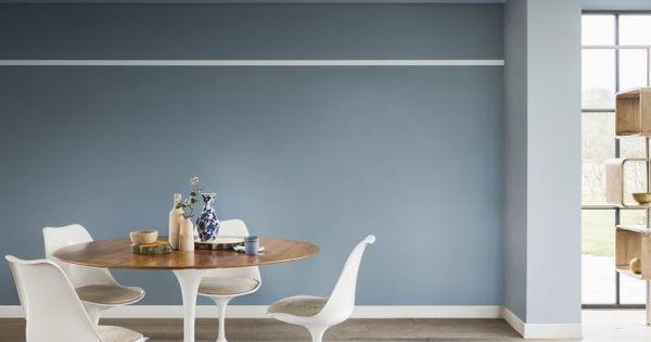 Un mur et un plafond bleu gris pour une salle manger le for Salle a manger epuree