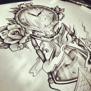 Photos tatouage sablier horloge