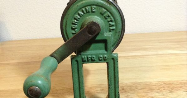 Antique Cast Iron Green Wood Handle Hand Crank Grater