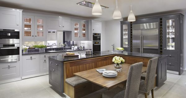 The argento kitchen painted in shades from gunmental to - Cocinas pintadas ...