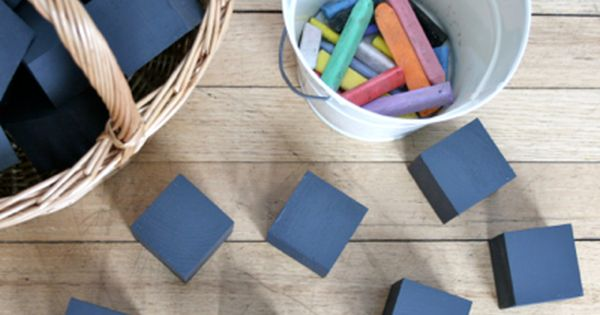 Wooden blocks with chalk board paint!