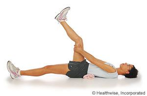 Picture Of How To Do Hamstring Stretch Lying Down Hamstring Stretch Thigh Muscles Exercise