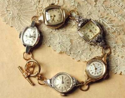 Vintage watch face bracelet. What a great Idea