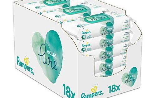 Pampers Aqua Pure Feuchttücher Bio-Baumwolle Alkoholfrei 18x48 Stück 18er Pack