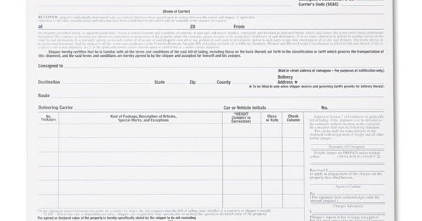 Bill Of Lading Short Form, 8 1 2 X 7, Four-Part Carbonless, 250 - printable bill of lading short form