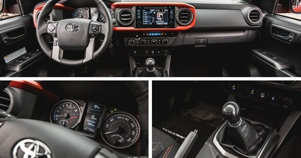 2016 Toyota Tacoma Trd Offrd Black With Orange Stitching Fabric Interior With The Accented I Ring In The Dash Toyota Trucks Pinterest