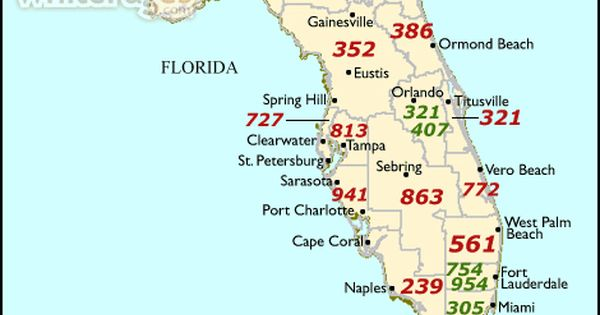 Area Code 813 Covers All Of Hillsborough County The City Of Oldsmar In Pinellas County And The Central Portion Of Map Of Florida Ormond Beach Florida Florida