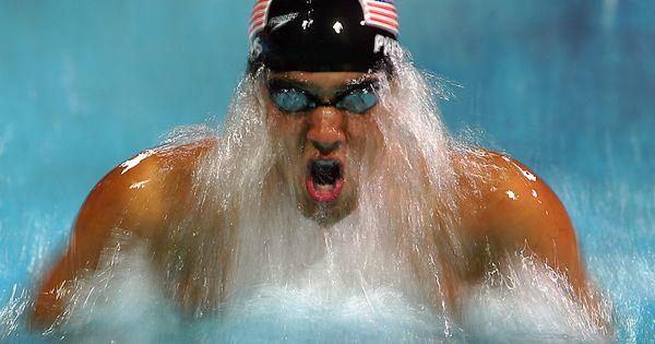 Michael Phelps - breaststroke he looks like he has a beard :)