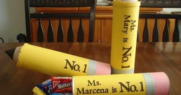 Altered Pringles Can .....so clever ...neat idea for a Teacher gift filled