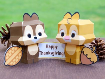 Chip 'n' Dale Cutie Papercrafts | Free Disney Thanksgiving Printable Activities, Decorations