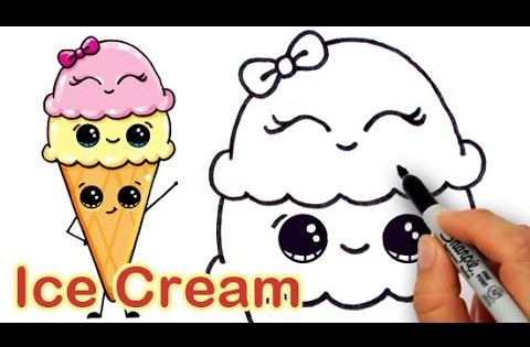 How to Draw Cartoon Ice Cream on a Cone Cute and Easy ...