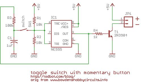 On Off Toggle Switch From A Momentary Switch Using 555 Toggle Switch Toggle Buttons