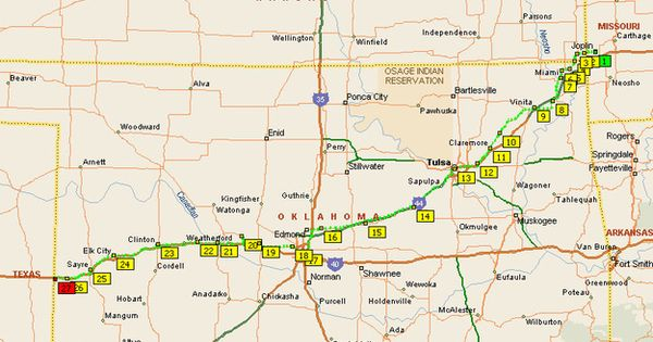 Oklahoma has about 400 miles of Route 66.more miles of original routing