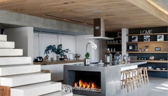 Modern Kitchen Island With Fireplace Open Stairs And Xl
