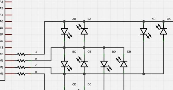 charlieplexing leds with an avr atmega328  or arduino