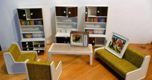 Alte puppenstubenm bel wohnzimmer kunststoff 70er jahre for 70er wohnzimmer