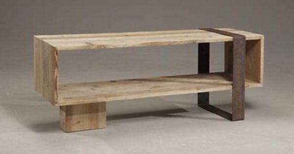 Mobile porta tv comodino in legno abete massello e ferro for Bricolage arredamento