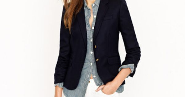 J. Crew schoolboy blazer, white pants + chambray button-down.