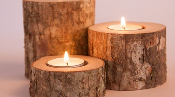 Rustic candle holders tea light holder woodland