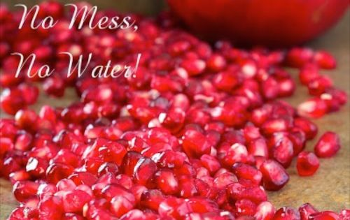 How to de seed a pomegranate in less than a minute no fuss no mess no water recipe - Deseed pomegranate less one minute video ...