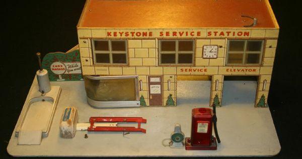 Shell Gas Station Car Wash >> play gas station | Vintage 1950's Keystone Auto Garage Play Set Gas Pump Car Wash Service ...