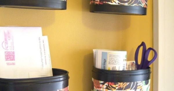 Upcycled formula containers into a mail center from craftandrepeat - would love