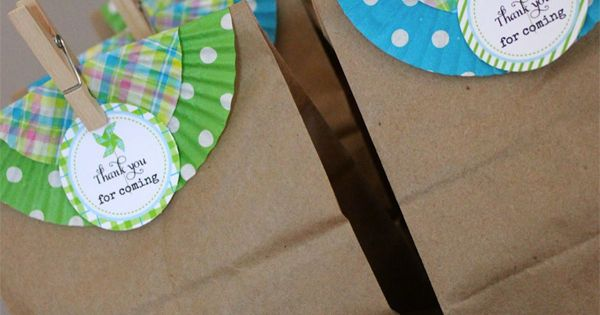 Use cupcake liners for a splash of color on plain paper bags