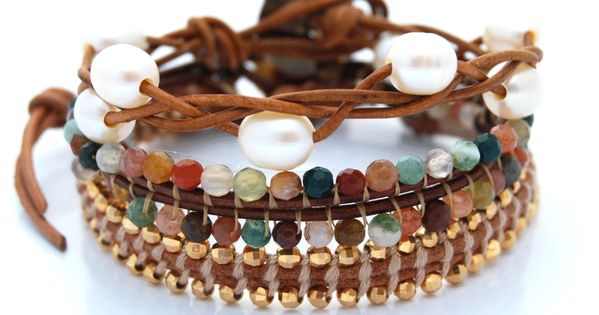 Sunset Beach bracelet stack. Reverse stitch beaded leather wrap bracelets with braided