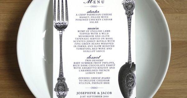 fork and spoon menu wedding ideas Pinterest Menu