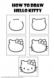 Teach Kids To Draw Hello Kitty Drawing Kitty Drawing Hello Kitty Crafts