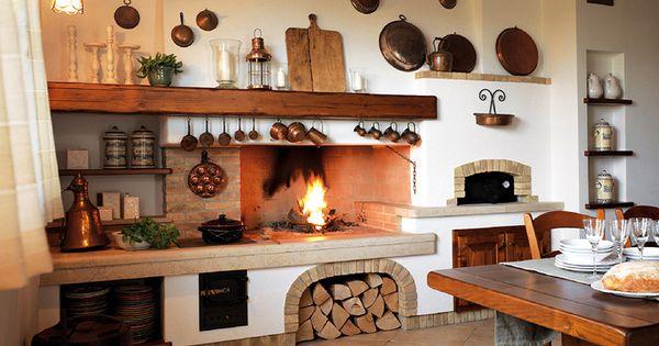 Cucina rustica con camino cerca con google pared - Cucina rustica con camino ...