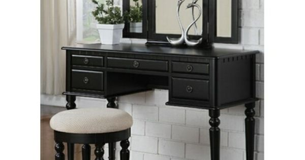3 Pc Black Finish Wood Make Up Bedroom Vanity Set With