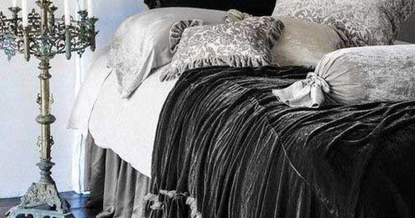 beautiful velvet bedding & candelabra ♥