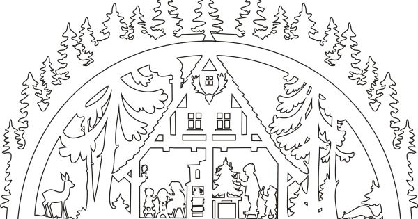 template schwibbogen waldhaus  laubsägevorlagen