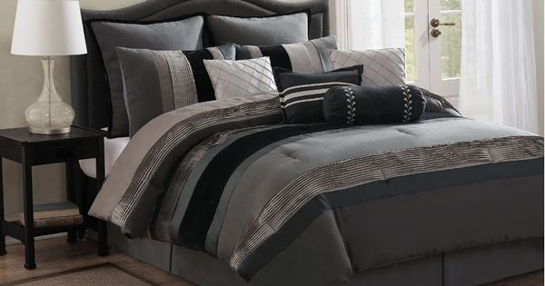 Ashlyn Slate Silver And Charcoal Gray Comforter Sets By