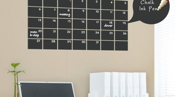 Chalkboard Wall Calendar Vinyl Wall Decals by SimpleShapes, $35.00. See dates/deadlines for