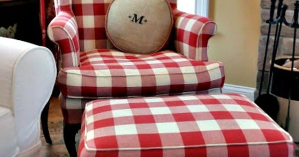 Red Buffalo Check Chair And Ottoman Red And White Home