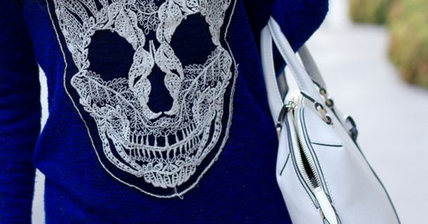 Cobalt skull knit by Spellbound....plus a white bag yes