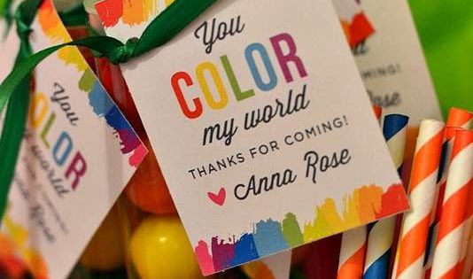 "Art Birthday Party favors - rainbow gum balls ""you COLOR my world…thanks"