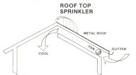 Sprinklers Are Used To Cool The Intake Air A Water Layer Is Placed On The Roof Sunlight Evaporat Passive Solar Design Passive Solar Energy Solar Architecture
