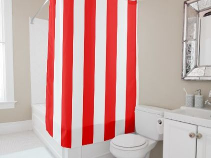 Red And White Vertical Stripes Shower Curtain Zazzle Com