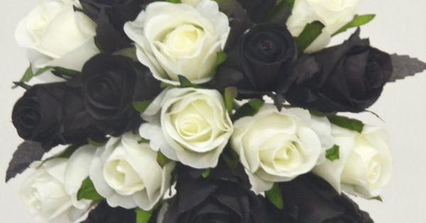 Silk Wedding Bouquet Black White Cream Roses Pre Made Posy