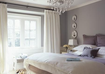 Elegant, cozy gray bedroom and white curtain idea