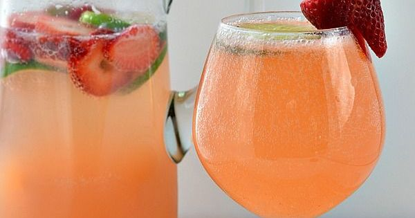 This Strawberry & Lime Moscato Punch is so easy to make and
