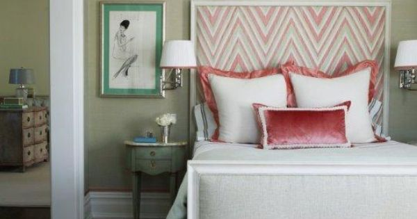 pink bedroom, chevron headboard