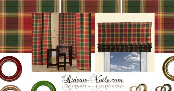 rideau tissu carreaux vert rouge ray rideaux oeillets vert rouge et oeillet. Black Bedroom Furniture Sets. Home Design Ideas