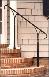 Architectural Blacksmithing Wroght Iron Railings Gates   Outdoor Iron Railings For Steps   Outside   Aluminum   Wood Treads   Staircase   Custom